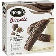 Nonni's Triple Milk Chocolate Biscotti (No Nuts) 8 Individually Wrapped Biscotti, 6.88 Oz. Box (2 Pack)