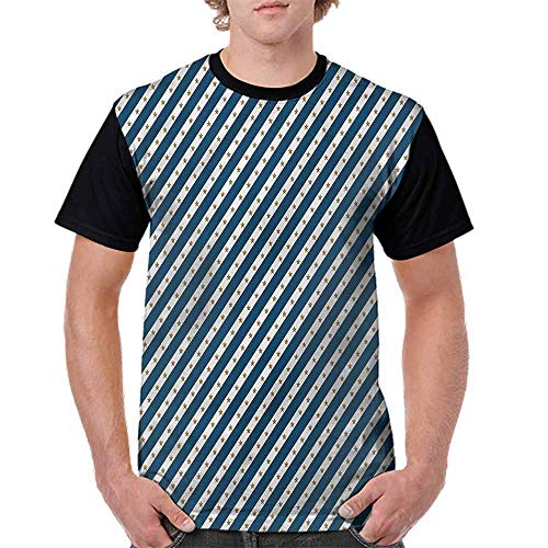 BlountDecor Cotton T-Shirt,Diagonal Stripes and Stars Fashion Personality Customization
