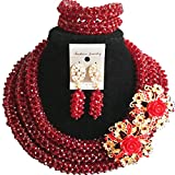 laanc 98% Crystal Woman Jewellery Sets Multicolor,Party,Gift,Multi Use - Nigerian Bride African Jewelry (Wine)