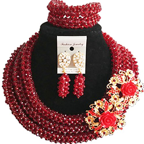 laanc 98% Crystal Woman Jewellery Sets Multicolor,Party,Gift,Multi Use - Nigerian Bride African Jewelry (Wine) by laanc