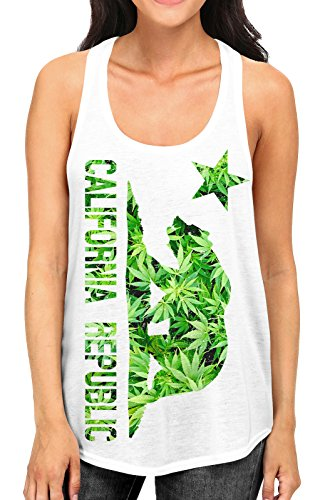 Junior's California Weed Leaf Flag Tee B402 PLY White Racerback Tank Top Medium