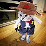 Meihejia Cute Cat Costumes for Pets, Funny Pet Outfits Cowboy Jacket with Hat for Small Dogs