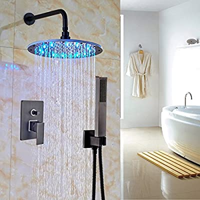 """Rozin Bath 2-way Mixer Shower Set LED Changing Color 12"""" Top Showerhead + Handheld Spray Oil Rubbed Bronze"""
