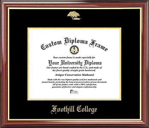 Embossed Logo Diploma Frame Mahogany Gold Trim Laminated Visuals Foothill College Owls