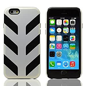 Mini - 2-in-1 Design Maple Leaf Shape Hard Case with TPU Inside Cover for iPhone6 , Color-Silver