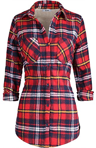- 2LUV Women's Long Sleeve Button Up Plaid Flannel Shirt with Sherpa Lining Red Yellow L