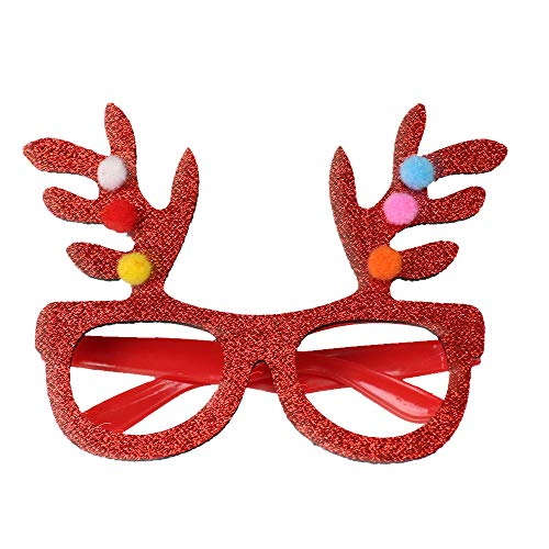 MomeChristmas Decoration Glasses 1pc 14.5CM Christmas Glasses Snowman Elk Spectacle Frame Happy New Year Kids Favors Xmas Gift Party Festival Decor-Red Gold Yellow (A)