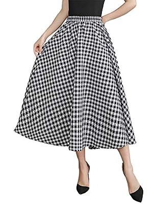 IDEALSANXUN Women's A-line Elastic Waist Plaid Long Pleated Skirt