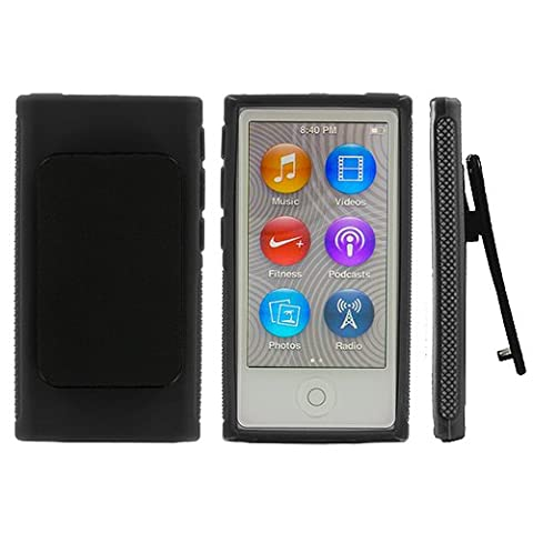 ANiceSeller(TM) Color TPU Rubber Skin Case Cover with Belt Clip for iPod Nano 7th Gen 7 7G (Black) (Ipod Nano Cases With Clip)
