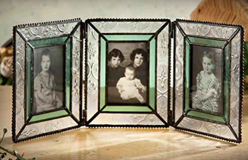 J Devlin Pic 122-3 Green Vintage Stained Glass Picture Frame (2x3 ()