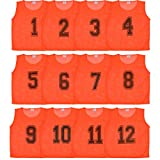 Athllete Set of 12- Scrimmage Vest/Pinnies/Team Practice Jerseys with FREE Carry Bag. Sizes for Children, Youth, Adult and Adult XXL by (Flame Orange Numbered, Large)