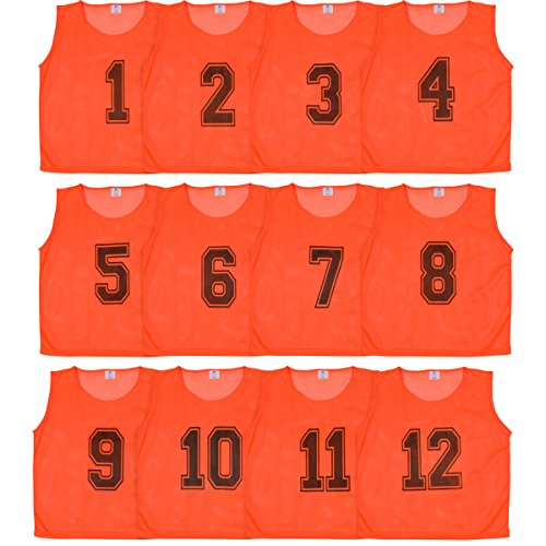 Pinnies Youth (Athllete Set of 12- Scrimmage Vest/Pinnies/Team Practice Jerseys with FREE Carry Bag. Sizes for Children, Youth, Adult and Adult XXL by (Flame Orange Numbered, Small))