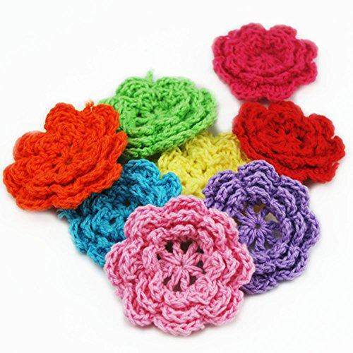 Bluemoona 20 PCS  Big Crochet Sewing Flower Embellishment Applique Trim Mixed Colors 2quot 50M