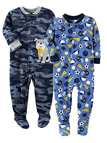 Carter's Baby Boys' 2-Pack Fleece Pajamas (12 Months, Bulldog/Sports) ()