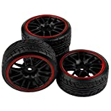 SkyQ 4pcs 1/10 Scale On Road Car RC Drift Tires Tyre and Wheels for WLtoys Tamiya