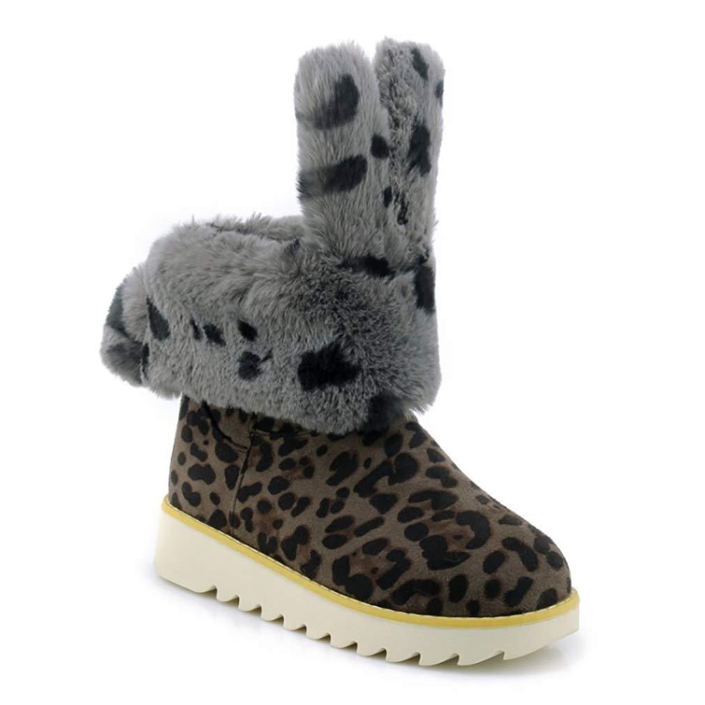 Hy Frauen Stiefelies Wildleder Winter dicken Boden Schneeschuhe Low Top Casual Winter Stiefel Damen Große Größe Plus Thick Outdoor Ski Schuhe (Farbe   D Größe   42)
