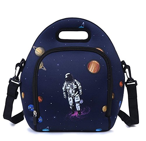 (Neoprene Lunch Bag, Anyshock Insulated Lunch Tote Bento Box Organizer with Zipper Pocket Adjustable Shoulder Strap Outdoor Travel Picnic Carry Case For Women Men Girls Adults (Space))