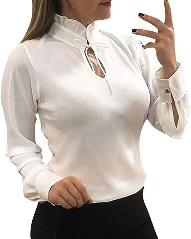 LANSKIRT Mujeres Camisetas Manga Larga Gasa Cuello Alto Sexy ...