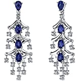 Created Blue Sapphire Chandelier Earrings Sterling Silver 4.00 Carats