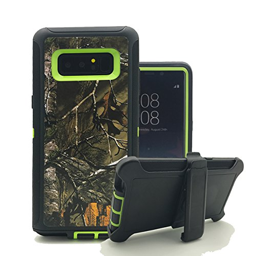 Galaxy Note 8 Case, Harsel Heavy Duty Tree Camouflage High Impact Shock Resistant Rugged Dirt Proof Military Durable Protective Case Cover with Belt Clip Kickstand for Galaxy Note 8 (Xtra Green)