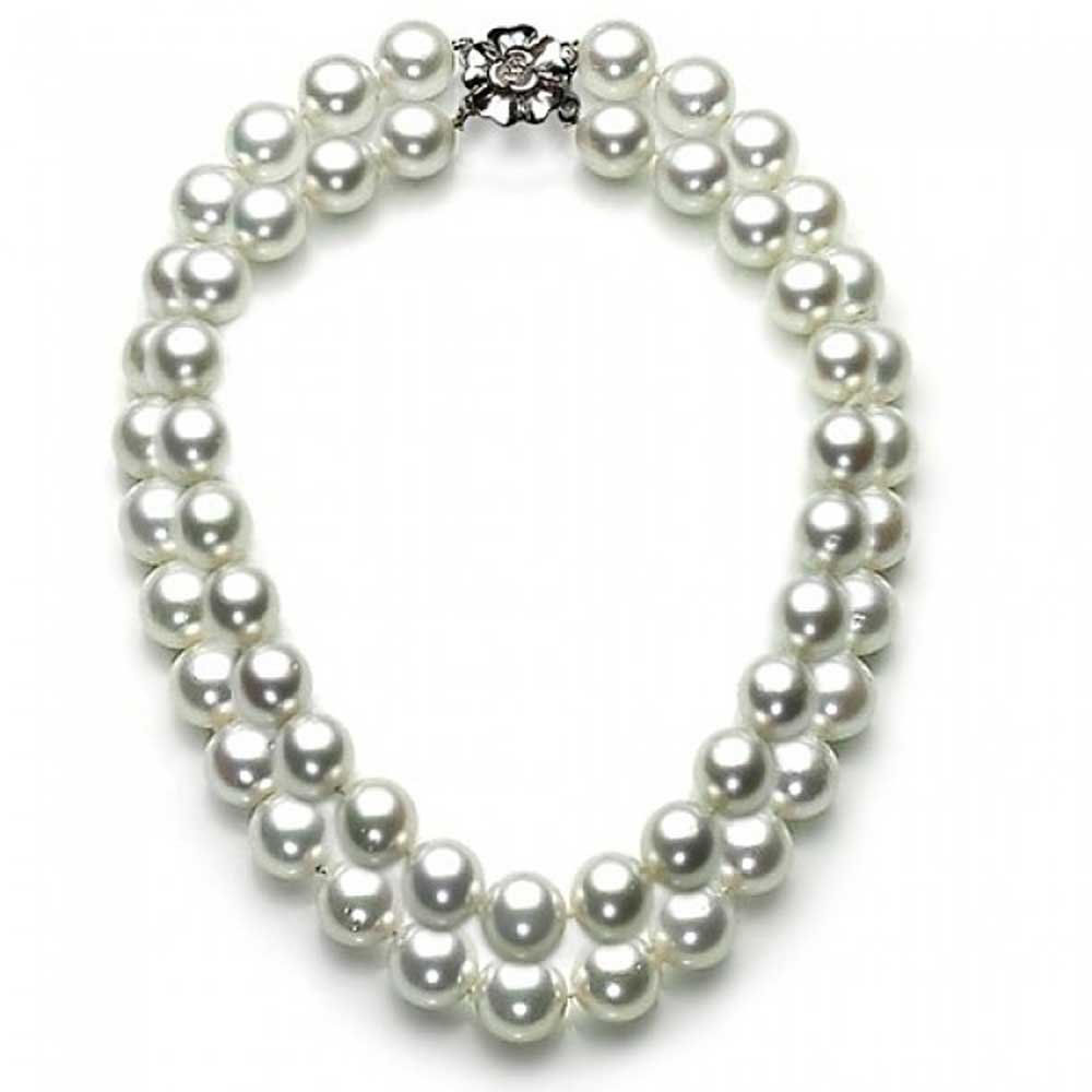White Simulated Pearl Double Strand Sterling Silver Bridal Necklace 16 Inches