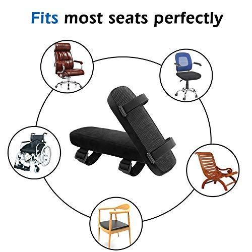 MoKo Chair Armrest Pads Black Set of 2 Office Ergonomic High Density Memory Foam Soft Elbow Pillow Cushion for Forearm Pressure Relief Adjustable Universal Padded Chair Armrest Cover