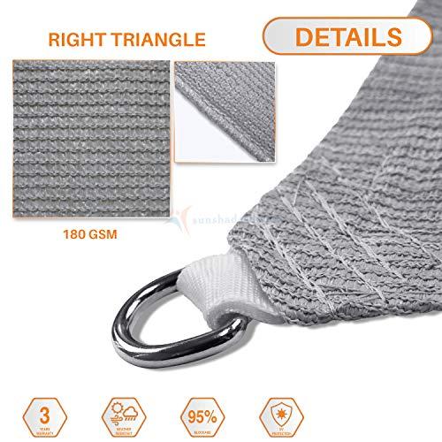 Sunshades Depot 10 x 10 x 14.1 Sun Shade Sail Right Triangle Permeable Canopy Light Grey Custom Commercial Standard