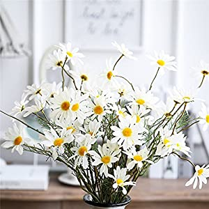 Povkeever Artificial Chrysanthemum Flowers, 5 Head Small Daisies Fake Sunflowers Bouquet Home Bridal Wedding Hotel Office Party Garden Centerpieces Arrangements Simulation Craft Decoration White 71