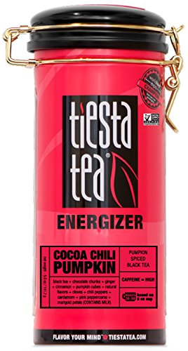 Tiesta Tea Cocoa Chili Pumpkin, Pumpkin Spiced Black Tea, 50 Servings, 5 Ounce Tin - High Caffeine, Loose Leaf Black Tea, Energizer Blend, Non-GMO - Tin Gypsy Zhena