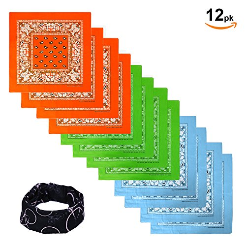 Basico 100% Cotton Head Wrap Bandanas 12 Pack with Tube Face Mask/Headband (12pk Assort- Orange/Lime Green/ Sky (Green Bandana)