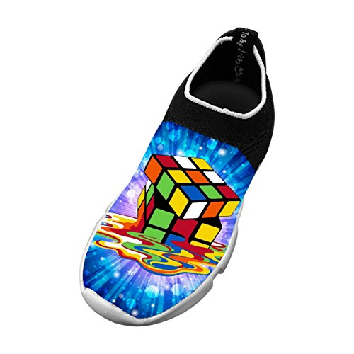 Rubik's Cube Customized Printing Children's Slip-on Flyknit Outdoor Sport Shoes