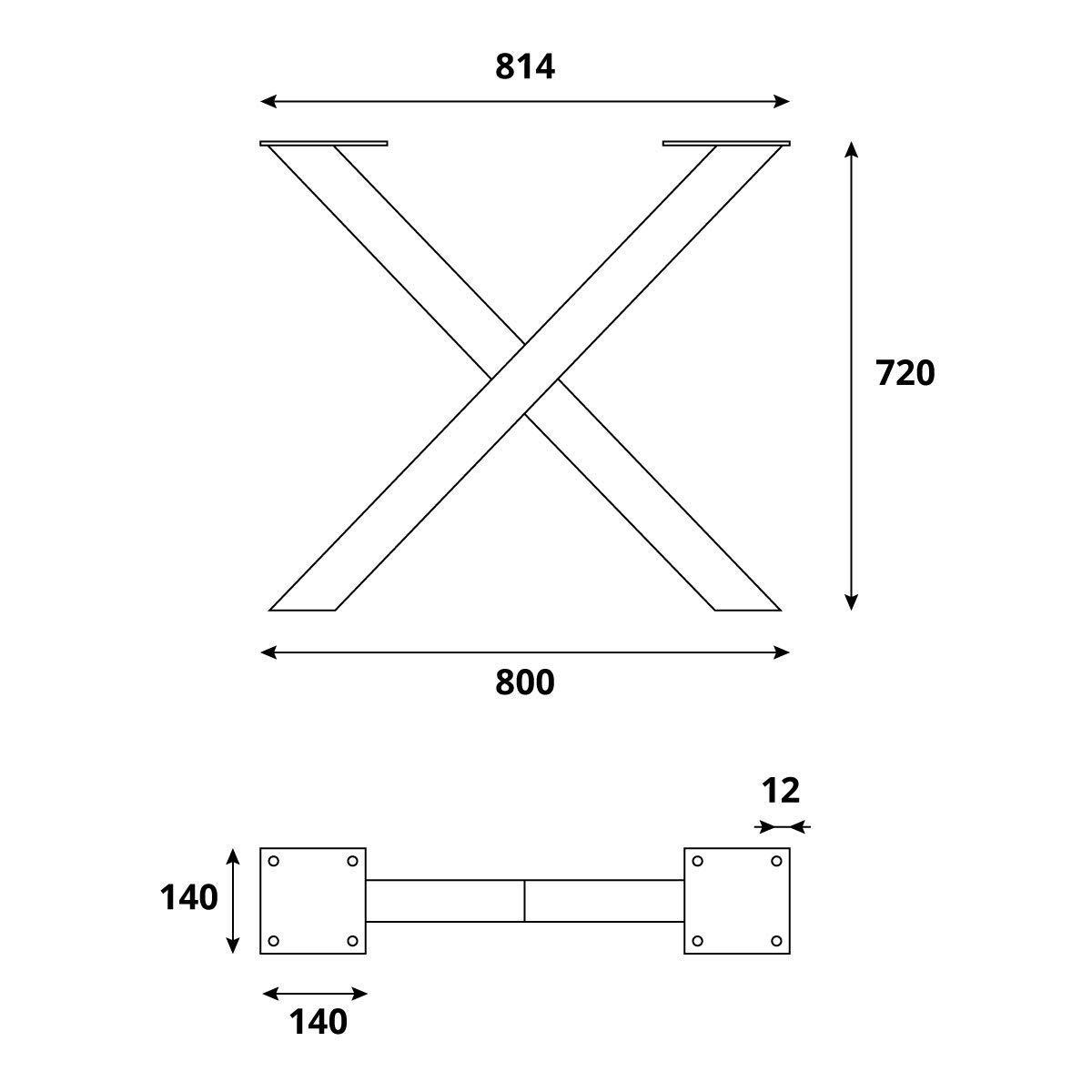 HLT-03-G-EE-9016 Blanco Tr/áfico HOLZBRINK 1x Pata de Mesa en Forma de X Perfiles de Acero 60x60 mm Tama/ño 70x72 cm