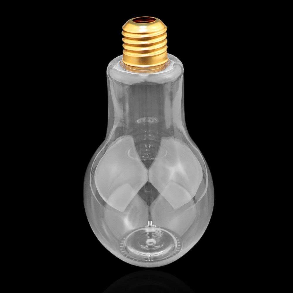 400 ml a Prova di perdite Bottiglia a bulbo in plastica Trasparente a Forma di Lampadina per Acqua TiooDre