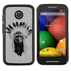 LECELL--Funda protectora / Cubierta / Piel For Motorola Moto E -- Pintura hombre indio nativo americano Cara --