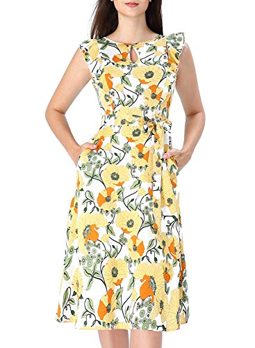 VFSHOW Womens Summer Yellow Floral Print Ruffle Sleeves Keyhole Pockets Casual Beach A-Line Midi Dress G3068 YEL XL