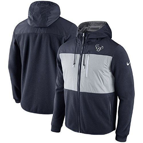 NIKE Men's NFL Houston Texans Championship Drive Fleece Full-Zip Hoodie 803243-459 (Medium) Navy/Gray by NIKE