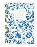 """bloom daily planners 2019 Calendar Year Day Planner - Passion/Goal Organizer - Monthly and Weekly Dated Agenda Book - (January 2019 - December 2019) - 6"""" x 8.25"""" - Blue & White Floral"""