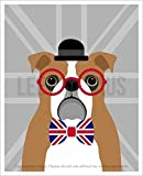 127D - English Bulldog Wearing Union Jack Bowtie with Gray Background UNFRAMED Wall Art Print by Lee ArtHaus