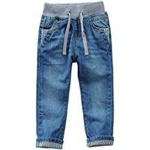SITENG Drawstring Waistband Jeans Little Boys' Straight Fit Denim Pants Boys Toddlers Kids