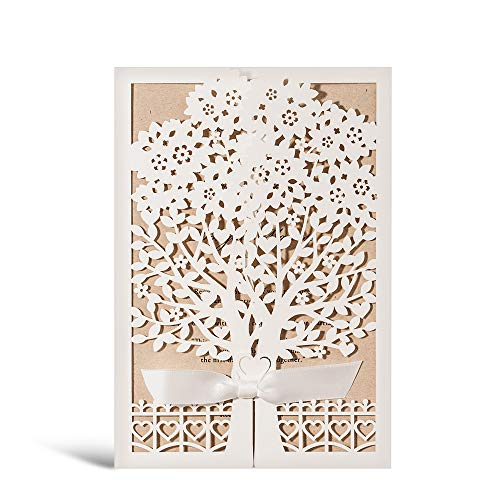 Rustic Laser Cut Wedding Invitations Ivory Invitation Cards with Kraft Insert for Engagement Baby Shower Birthday Quinceanera 50 Pieces (50 Pieces) -