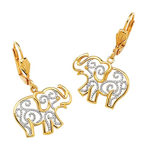 Two Earrings Tone 18k (Two-Tone 18k Gold-Plated Filigree Elephant Drop Earrings)