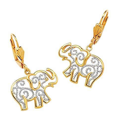 Two 18k Earrings Tone (Two-Tone 18k Gold-Plated Filigree Elephant Drop Earrings)