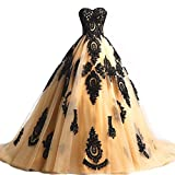 Black Lace Long Tulle A Line Prom Dresses Evening Party Corset Gothic Wedding Gowns Gold US 12