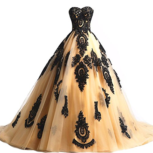 Black Lace Long Tulle A Line Prom Dresses Evening Party Corset Gothic Wedding Gowns