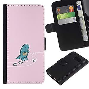 Samsung Galaxy S6 - Dibujo PU billetera de cuero Funda Case Caso de la piel de la bolsa protectora Para (Hitchhiking Godzila - Funny)