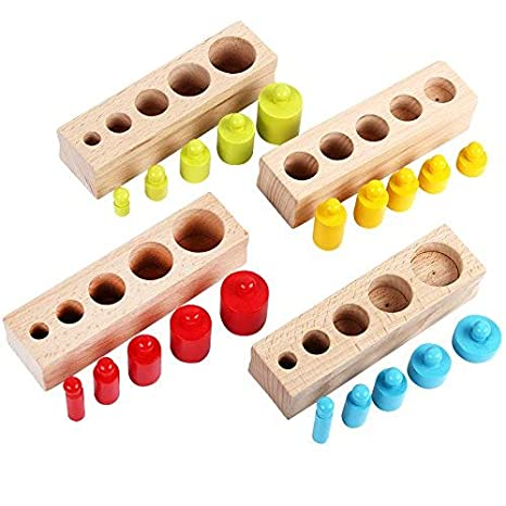 Well-Educated Montessori Educatioanl Wooden Toys For Children Early Learning Cylinder Matching Teaching Aids Sensory Montessori Materials Toy Home