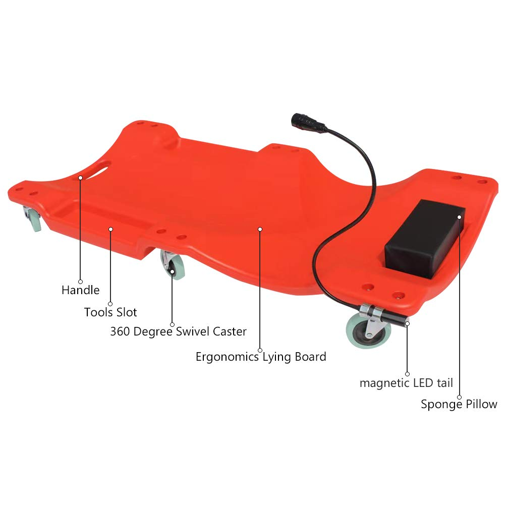 Automotive Repair Tool Roller Creepers Support 200KG Car Workshop Crawler Board Ergonomic Body /& Padded Headrest /& Dual Tool Trays AUTOOL Mechanic Plastic 40 Car Creeper Board with Led Light