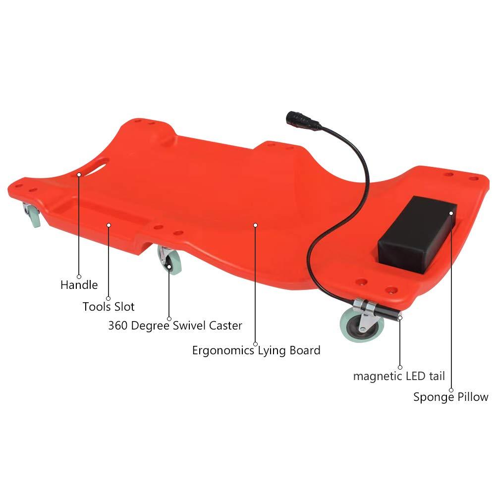 GOGOLO Mechanic Plastic 40'' Car Creeper Board with Led Light, Car Workshop Crawler Board Ergonomic Body & Padded Headrest & Dual Tool Trays, 200kg Capacity, Red by GOGOLO (Image #2)