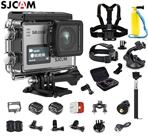 SJCAM SJ6 Kit (Including Extra Battery, 6-in-1 Accessories)SJ6 LEGEND Dual Screen 2″ LCD Touch Screen 2880×2160 Novatek NT96660 Panasonic MN34120PA CMOS 4K Ultra HD Sport DV Action Camera Silver