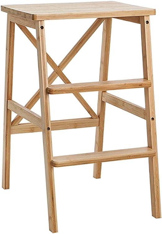 Madera maciza Usos múltiples Escalera Silla Cocina para el hogar Escaleras de doble uso Estantes Escalera de seguridad para el hogar Móvil 2 escalones Escaleras de mano Taburete ascendente: Amazon.es: Hogar